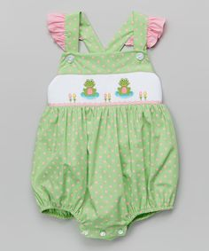 Look at this Lime Green Polka Dot Frog Smocked Bubble Bodysuit - Infant on #zulily today!