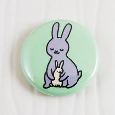 Baby Bunnies Hug Button on Etsy, $2.00