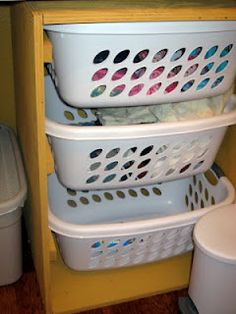 Laundry room ideas to keep children's clothes off the floor