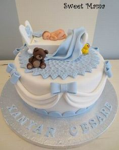 Baby Girl Cakes, Baby Birthday Cakes, Baby Shower Cakes For Boys, Fondant Baby Shoes, Christening Cake Boy, Gateau Baby Shower, Lion Cakes, Music Cakes, Beautiful Birthday Cakes