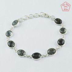 BLACK RUTILE STONE STUNNING LOOK 925 STERLING SILVER BRACELET BR4339 #SilvexImagesIndiaPvtLtd #Chain