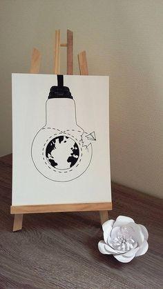Affiche Illustration Noir et blanc ampoule  le tour du