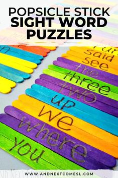 Looking for sight word activities? This popsicle stick sight words game is a great way to teach sight words and have your kids practice sight words at home. Teach and practice sight words with these DIY sight word puzzles made from popsicle sticks Preschool Sight Words, Learning Sight Words, First Grade Sight Words, Sight Word Practice, Sight Word Games, Sight Word Activities, Word Puzzles For Kids, Word Games For Kids, Educational Activities For Kids