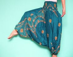 Green Batik Plus Size Pants Yoga Hippie Pants by myuniverse