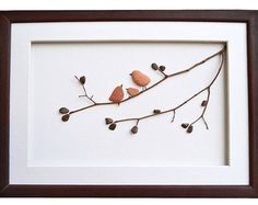 Pebble Art Love Birds Romantic gift for couple Art New home housewarming gift Beach Stone Artwork Unique Home Decor Framed Wall Art Pebble Pictures, 3d Pictures, Sea Glass Crafts, Sea Glass Art, Stone Crafts, Rock Crafts, Unique Wall Art, Unique Home Decor, Pebble Art Family