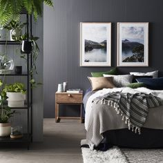 Grey, green and tan bedroom inspiration. A new colour combination but I like it! Tan Bedroom, Grey Bedroom Design, Grey Bedroom With Pop Of Color, Bedroom Green, Trendy Bedroom, Bedroom Colors, Bedroom Designs, Master Bedroom, Chambre Tan