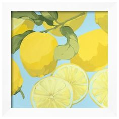Art.Com  Fresh Lemons Framed Art Print (€155) ❤ liked on Polyvore featuring home, home decor, wall art, art, filler, assorted, framed wall art, white framed wall art, white home decor and white wall art