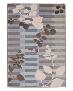 Grey, light blue, and brown rug
