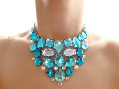 Turquoise Necklace, Aqua, Baby Blue, Crystal AB and Pearl Rhinestone Bib Statement Necklace, Bridesmaid Necklace, Mermaid via Etsy