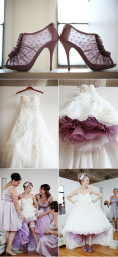 The bride had her tulle underskirt tinted lavender to match her shoes!