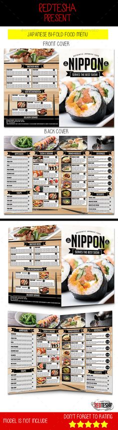 Japanese BiFold Menu — Photoshop PSD #bi-fold menu #sushi • Available here → https://graphicriver.net/item/japanese-bifold-menu/12666401?ref=pxcr