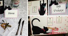 """Valerio e Sara hanno una passione per i gatti. Ci hanno chiesto espressamente che il tableau che dovevamo realizzare per loro fosse su tema """"felino"""" e che in particolare i nomi dei tavoli fossero i nomi dei loro gatti.Il lavoro è piaciuto a tutti e speriamo piaccia anche a voi che lo guardate."""