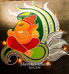 Check out latest ganesh rangoli designs and patterns which you can use to decorate your home this ganesh chaturthi. Best Rangoli Design, Easy Rangoli Designs Diwali, Rangoli Simple, Rangoli Designs Latest, Simple Rangoli Designs Images, Rangoli Designs Flower, Free Hand Rangoli Design, Rangoli Border Designs, Small Rangoli Design