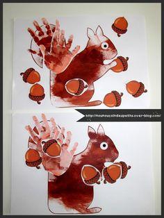- Aujourd'hui mes loulous de 22 mois et 2 ans ont réalisé un petit écureuil , en peinture a l'éponge , puis empreinte des mains pour la queue et pour finir collage des gommettes glands... - ont a regardé les photos des petits écureuils sur la fiche réalisé...