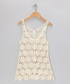Take a look at this Off-White Crochet V-Neck Dress - Toddler & Girls by Paulinie on #zulily today!