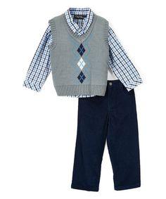$9.99 Look at this #zulilyfind! Gray & Blue Sweater Vest Set - Infant & Toddler #zulilyfinds