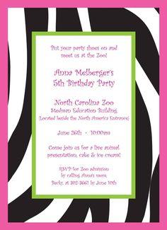 Personalized zebra print birthday party or bachelorette party announcement invite