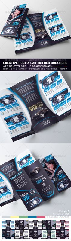 """Rent A Car Trifold Brochure  Creative Rent A Car Trifold Brochure.  Features  Sizes – Letter (8,5×11"""")+bleed – A4(8,25×11,7)+bleed 5 Color Variants Fully editable Photoshop Easy to customize CMYK High Quality 300 DPI Highly Organised Layers Print Ready Free font used"""