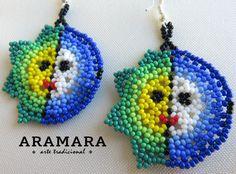 Mexican Huichol Beaded Sun and Moon Eclipse Earrings  by Aramara