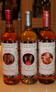 Personalized Bridal Party Gifts - Custom Bridesmaid Wine Labels for each member of your Bridal Party