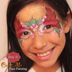 25 Days of Christmas. Poinsettia face painting - Color Me Face Painting