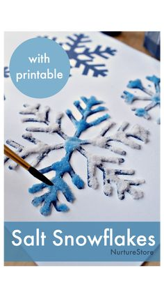 Simple Snowflake, Snowflake Craft, Winter Art Projects, Winter Crafts For Kids, Art Activities For Kids, Art For Kids, Winter Activities, Paper Cutting, Painting Snowflakes