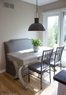Small Eat In Area Given A More Roomy Feel With An Upholstered Banquette And Desk Small Kitchen Tableskitchen