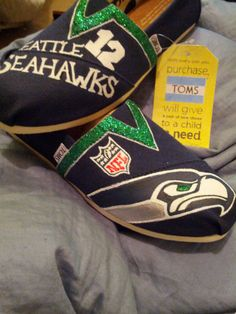 12th Man Seahawk Shoes by customsouls on Etsy