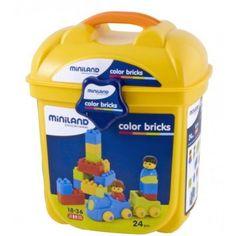 Color Bricks 24 Peças Balde, Miniland. Excelente material de encaixe construção. Módulos que permitem familarizarem as primeiras construções que progressivamente se convertem nas mais complicadas construções. Inclui personagens e peças com rodas premontadas. 18 M+ Brincar e Aprender. Brinquedos Didácticos para Crianças. http://www.planetadidactico.com/home/124-color-bricks-24-pecas-balde-.html
