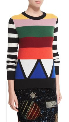 Libertine 'Sonia' striped jewel-neck cashmere sweater, multi colours, worn by Sutton Foster on Younger.