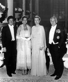 Princess Caroline, Philippe Junot, Princess Grace, and Prince Rainier attend Caroline's pre- wedding ball