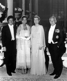 Princess Caroline, Philippe Junot, Princess Grace, and Prince Rainier attend Caroline's pre- wedding ball