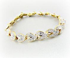 Vintage SWAROVSKI Crystal Bracelet, Autumn Leaf Bracelet, Clear Crystal Bracelet, 14K Gold Plated Bracelet, 1980s Wedding Bridal Jewelry by RedGarnetVintage, $45.00