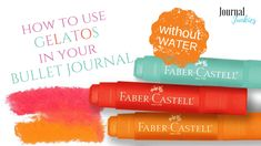How to use faber castell gelatos in your bullet journal without water, art, watercolor, bujo Bullet Journal Wish List, Bullet Journal Font, Journal Fonts, Bullet Journal Themes, Bullet Journal Stencils, Faber Castell, Life Planner, Being Used, Bujo