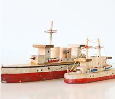 Vintage Toy Ships  Set of 2 Wooden US Navy Battleship by bellalulu