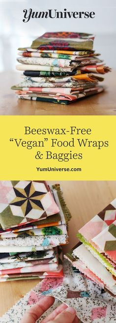 """Skip the plastic and make your own beeswax-free food wraps with a special vegan alternative to beeswax. These wraps preserve foods for weeks and are reusable for months! Easy, free food wrap """"baggie"""" pattern download for half-eaten avocados, sandwiches and more. #beeswaxfoodwrap #beeswaxwraps #veganfoodwraps"""