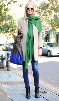 color blocking - lovely shade of holiday green!