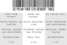 Zeitplan für Dessert Table, Geburtstagsbuffet, Sweet Table  by http://christinascatchycakes.de/