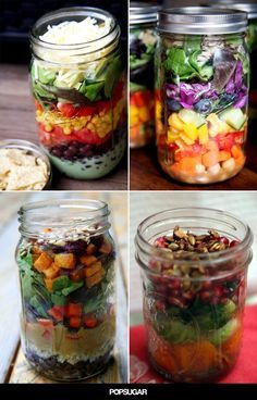 7 Mason Jar Salads That Will Transform Your Lunchtime make sure to check calorie count first Mason Jar Lunch, Mason Jar Meals, Meals In A Jar, Mason Jars, Healthy Salads, Healthy Eating, Healthy Recipes, Healthy Lunches, Healthy Food