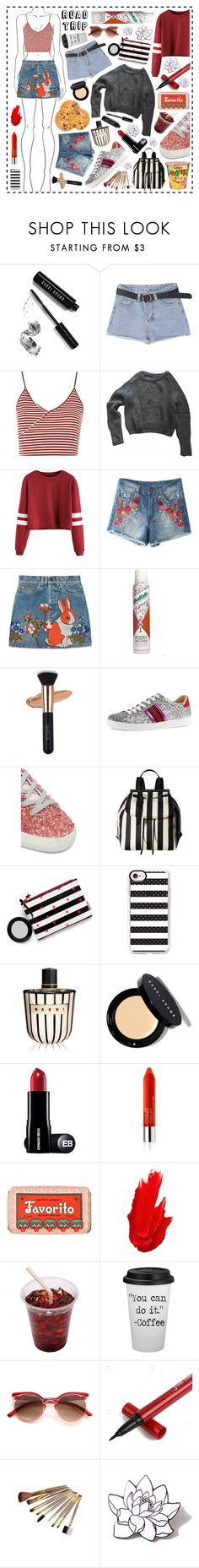 """Road trip!"" by beanpod ❤ liked on Polyvore featuring Bobbi Brown Cosmetics, Topshop, American Apparel, Gucci, Batiste, Golden Goose, Marc Jacobs, Casetify, Marni and Clinique"