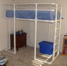 PVC loft bed. PVC can be either painted or dyed so it doesn't have to look like a pipe bed!