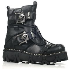 Men Black Cowhide Leather Skull Lace Up Punk Rock Biker Battle Boots SKU-1280713