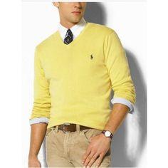 Ralph Lauren V Neck Sweaters Mesh Men Yellow http://www.ralph-