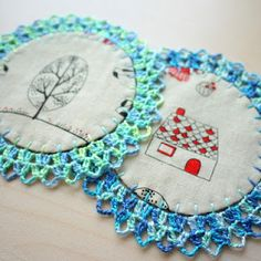 patch.stitch.button: More Coasters with Crochet Lace
