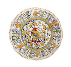 """Le Cadeaux Rooster Yellow 9"""" Salad Plate"""