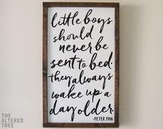 Peter+Pan+Framed+Wood+Sign+Vertical+21x13++Little+Boys+Should
