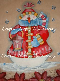 Boneco de Neve pintado (Natal) http://www.catiaartesmanuais.com/