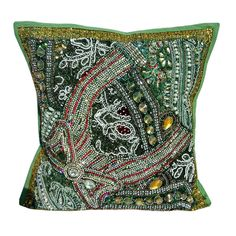 "16"" Indian Cotton goerges Pillow Beaded Patch Work Handmade Cushion Cover N8 #JunedCraftPalace #ArtDecoStyle"