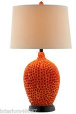 Modern Coastal Chic Beach Sea Shell CORAL REEF ORANGE Red Body TABLE LAMP