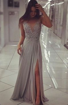Prom Dresses For Teens, Unique Prom Dress,Grey Chiffon Sparkly Beaded Prom Dress with Slit,Sexy Long Formal Dresses Short prom dresses and high-low prom dresses are a flirty and fun prom dress option. Grey Prom Dress, Beaded Prom Dress, Beaded Chiffon, Silver Prom Dresses, Long Formal Dresses, Long Silver Dress, Long Dress With Slit, Long Grey Dress, Womens Formal Dresses